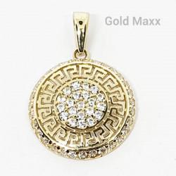 Okrągła złota  zawieszka z greckim wzorem