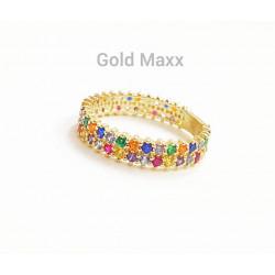 Złoty pierścionek z kolorowymi cyrkoniami